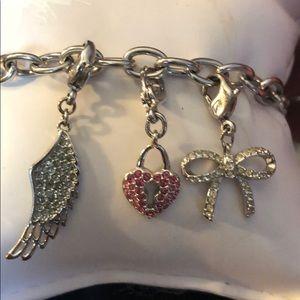 Authentic Swarovski Rhodium Charm Bracelet
